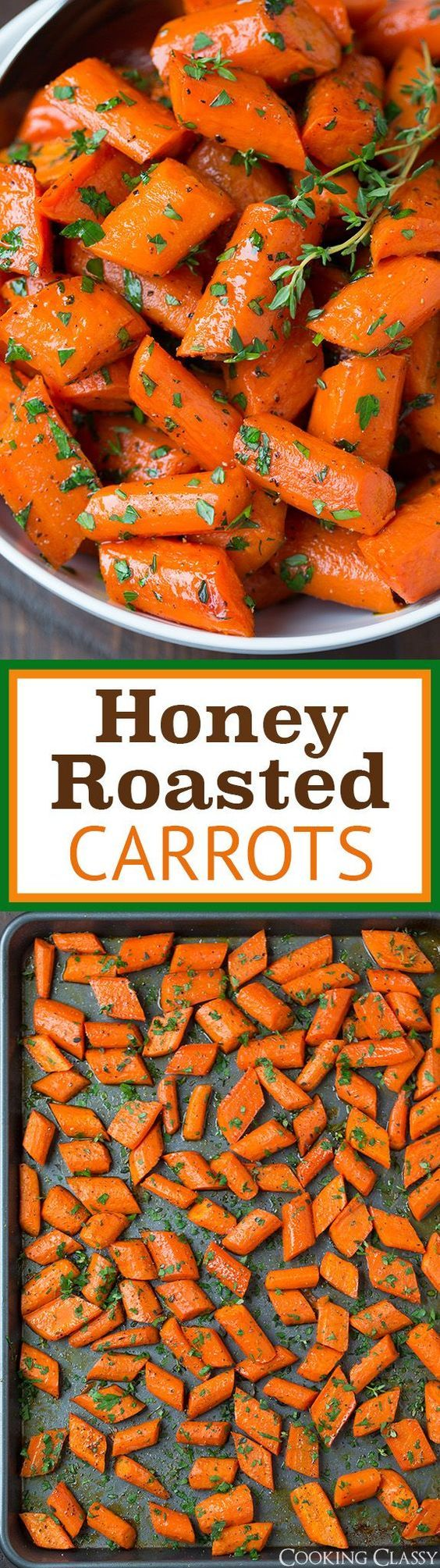 Honey Roasted Carrots - the perfect easy Thanksgiving side dish! Flavorful and delicious!!