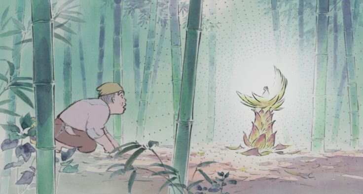 "A screenshot of a scene in the film ""The Tale of Princess Kaguya"". The film is an animated adaption of a Japanese Folktale called ""The Tale of the Bamboo Cutter"", a story about a mysterious girl named ""Kaguya"" discovered inside a bright bamboo plant as a baby."