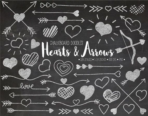 Chalkboard doodle arrows and hearts clip art in chalk texture. These cute images are hand drawn and then colored digitally. You will receive 42 designs in chalk texture and 42 in white color + a bonus 12x12 chalkboard background - 85 images total.  These whimsical hand drawn arrows and hearts will be perfect for Mothers Day and Valentines Day and wedding and other love themed craft projects, gift wrapping, scrapbooking, stationery, home decor, stickers and more. Images can be easily resized…
