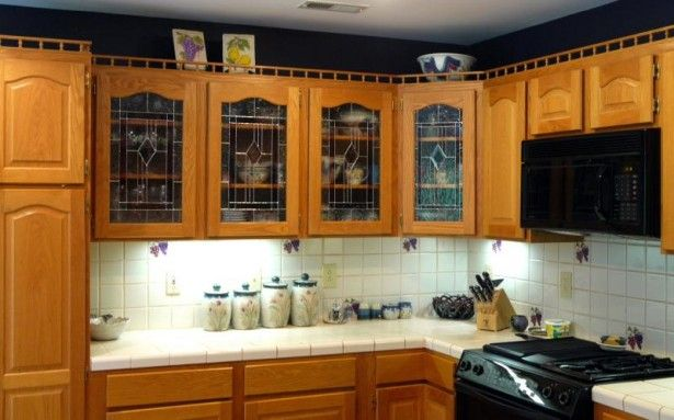 Kitchen Kitchen Backsplash Black Laminated Gas Stove Black Toaster Glass Kitchen Cabinet Classic Canopy Wooden Cutlery Set White Countertop Classic Brown Wooden Chest Of Drawer Ornament Bowl Glass Amazing Design Ideas With Sweet Contemporary kitchen Cabinet