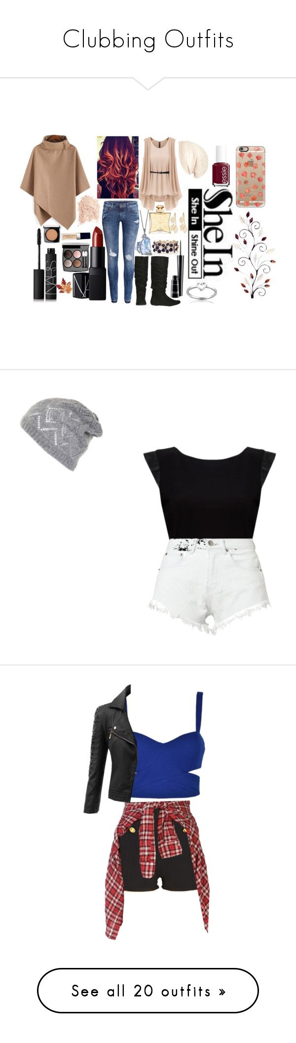 """""""Clubbing Outfits"""" by redheadmahomiemidnightredaustin ❤ liked on Polyvore featuring H&M, Wet Seal, Cara, NARS Cosmetics, Hermès, Chanel, MAC Cosmetics, Lancôme, Essie and Christian Dior"""