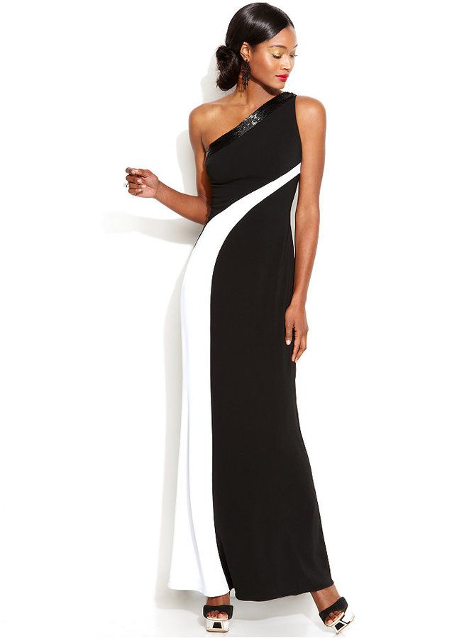 Js boutique one-shoulder jeweled dress white and black