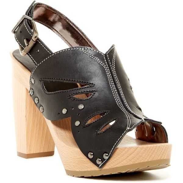 Diesel Enny Platform Sandal ($175) ❤ liked on Polyvore featuring shoes, sandals, black, platform shoes, ankle wrap sandals, ankle strap sandals, lug sole platform sandals and black studded sandals