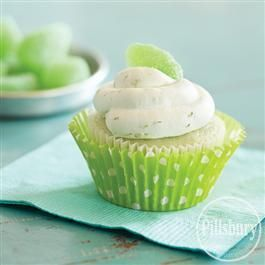 Key Lime Cupcakes with Whipped Cream Frosting from Pillsbury® Baking will take your taste buds to the tropics!