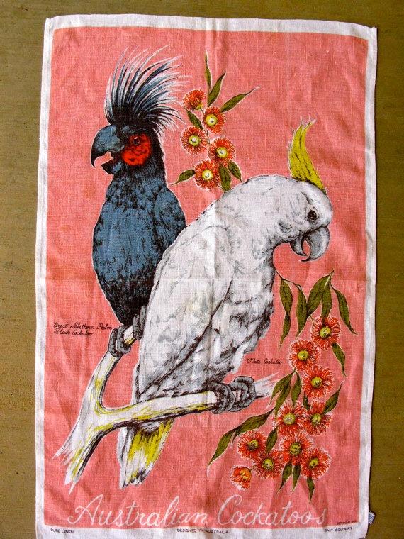Fabulous Vintage Australian Cockatoo Tea Towel by AZCindy on Etsy, $20.00