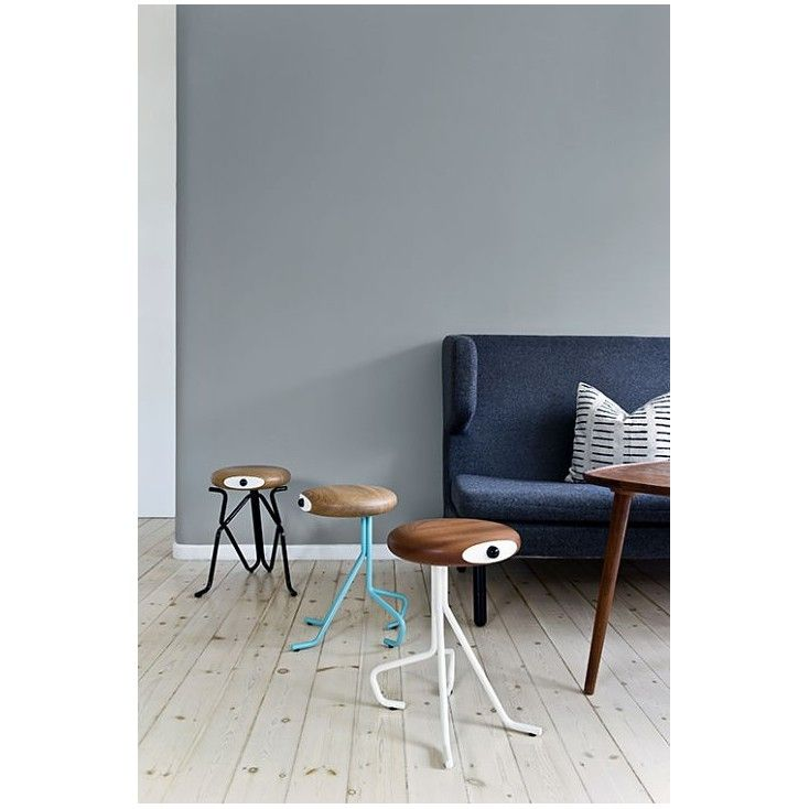 Small wooden Kitchen Stools Quirky in yellow blue red modern fun industrial designed for kitchens, looks like stools but are funky chairs that look alive U.K