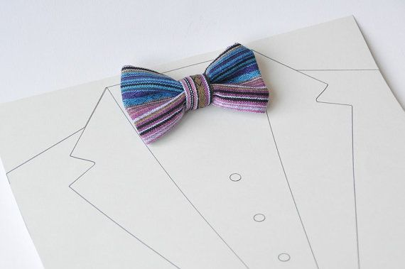 Bow tie for men - Men's pre-tied bow tie - Groomsman pre-tied bow tie - Colorful Stripe - Bohemian national style