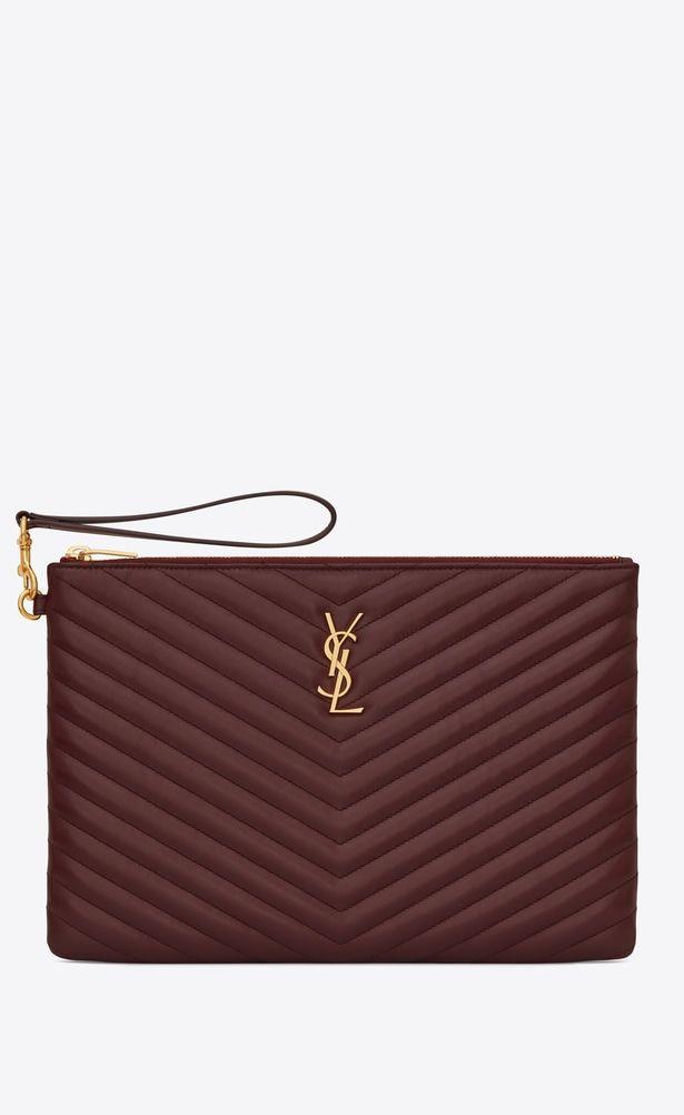 e6440657d8a SAINT LAURENT Monogram Matelassé Woman Monogram tablet pouch in dark red  quilted leather a_V4