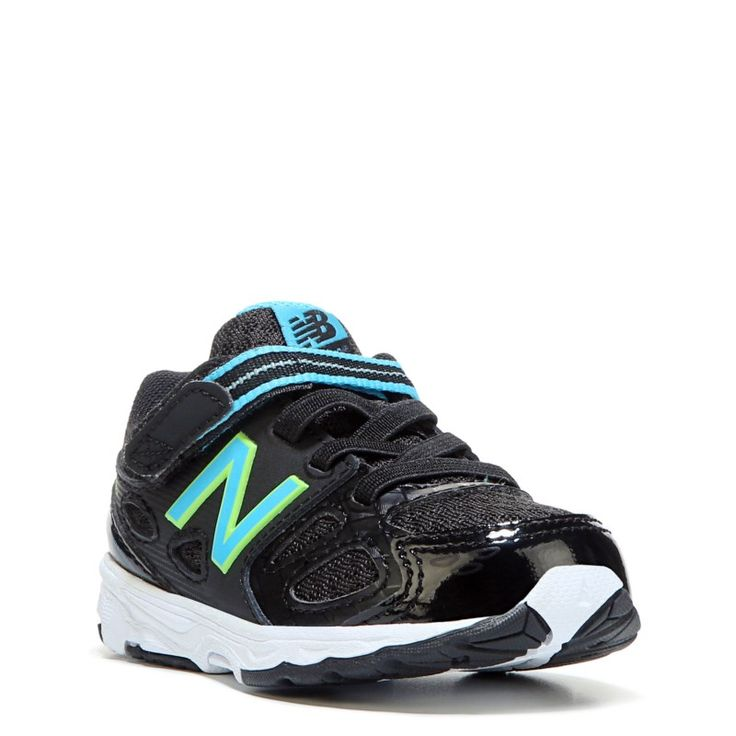 New Balance Kids' KA680 Medium/Wide/X-Wide Sneaker Baby/Toddler Shoes (Black/Blue Leather) - 3.0 2W
