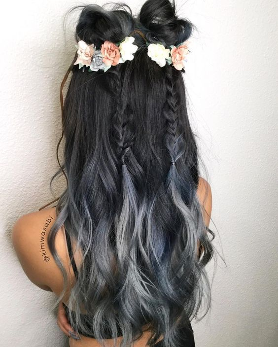 Coachella Hair ready. Midnight Blue Silver Smoke hair☑️ Braids☑️ Flowers ☑️ Beautiful