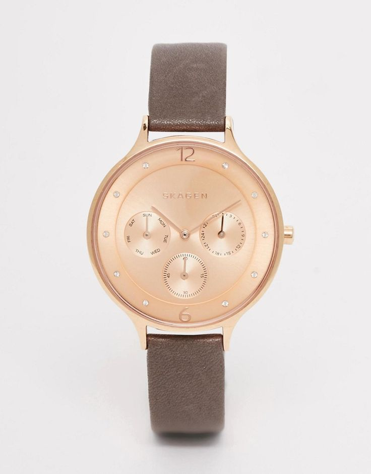 Image 1 ofSkagen Rose Gold Anita Leather Watch