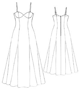 example - #5189 Long yellow dress