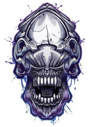 c53459ff6b1 Alien - Savage Skulls Temporary Tattoo