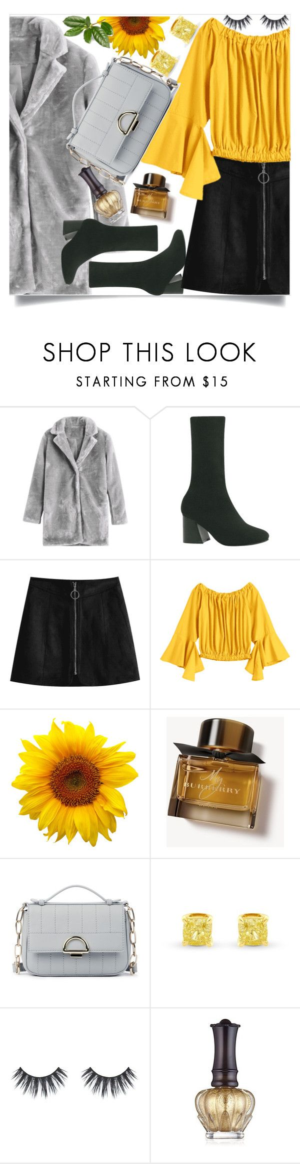 """""""Yellow asymmetrical Blouse"""" by mell-2405 ❤ liked on Polyvore featuring Burberry, Sole Society, Anna Sui, yellow, grey, blouse, coat and asymmetrical"""