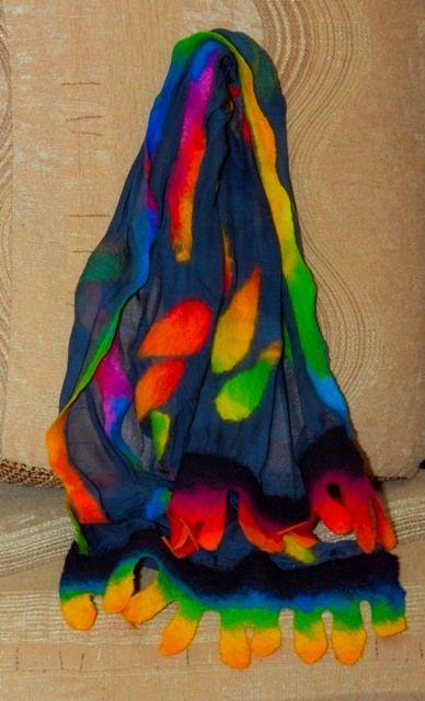 Шарф - тисса (индийская шелковая сетка), шерсть.