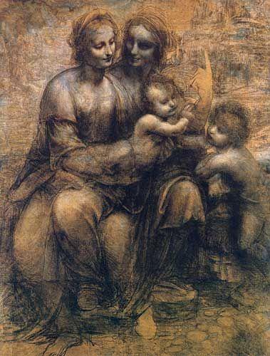 Leonardo Da Vinci Burlington Evi Karikatürü Meryem İsa Aziz Anne ve bebek Aziz John 1499