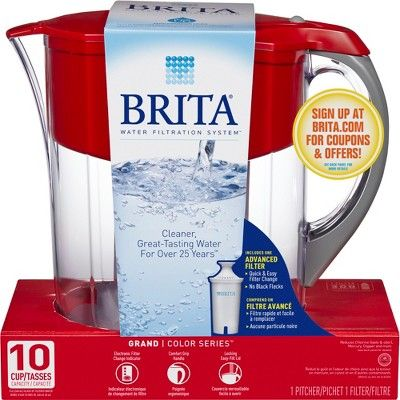 Brita Large 10 Cup BPA Free Water Pitcher with 1 Standard Filter - Red, Red & Clear