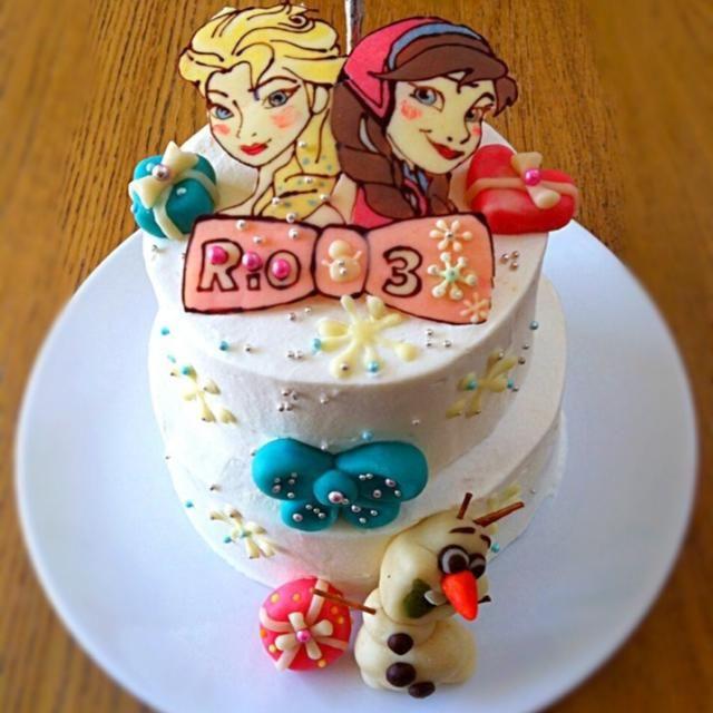 ありの〜ままで〜♫ 毎日歌ってる次女ちゃん3歳のバースデーケーキ❤︎  アナとエルサはチョコで、オラフはマジパンです! - 61件のもぐもぐ - 次女ちゃんの誕生日ケーキ アナ雪✳︎ by チーハ