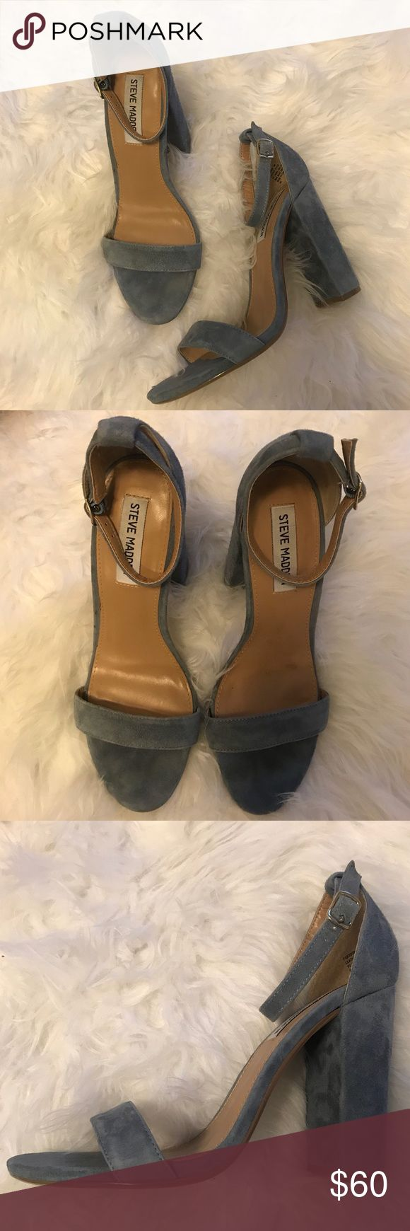 """Steve Madden Carson heels 4"""" heel  Ankle strap sandal on a chunky heel perfect for going out or a summer date!  ONLY WORN ONCE Steve Madden Shoes Heels"""
