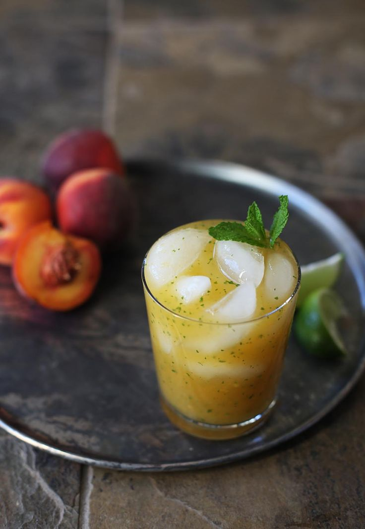 Peach, Gin & Mint Cocktail with Ginger Beer