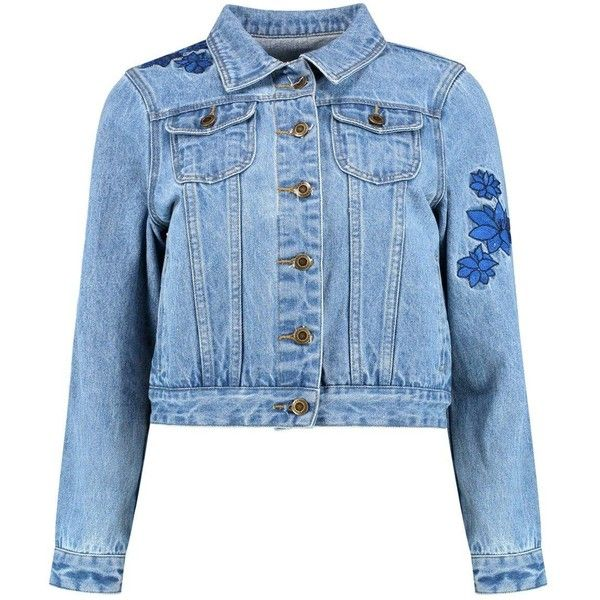 Boohoo Sadie Embroidered Back Detail Denim Jacket   Boohoo ($31) ❤ liked on Polyvore featuring outerwear, jackets, punk jean jacket, punk denim jacket, denim jacket, boyfriend jacket and slim fit jackets
