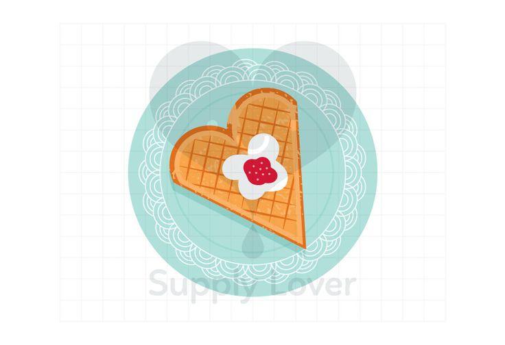 WAFFLE ON PLATE Clip-Art Commercial Use, Food, Waffle, Heart, Sour Cream, Jam, Plate, Sweet, Dessert, Snack, Aqua, Orange - A0061