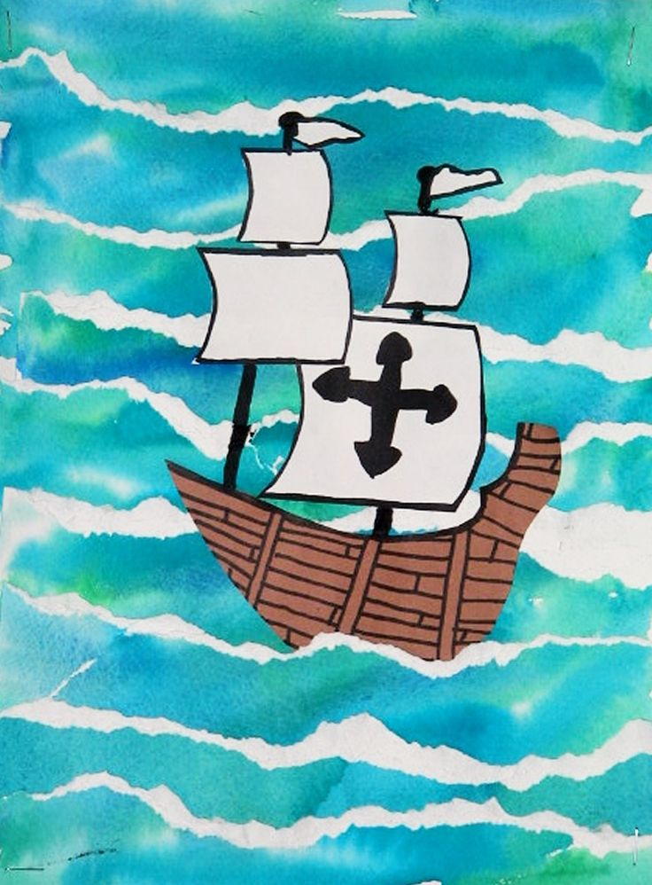 Third graders created these white capped waves by carefully ripping a blue-green wet-into-wet watercolor painting into strips. The strips were overlapped and glued into place. A cut paper ship w...