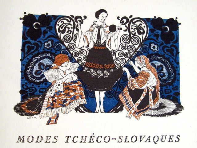 Slovak costume as illustrated in the Gazette du Bon Ton, 1920. The blue pattern evokes Modrotlac, traditional Slovak resist printing. (Collection of the Kent State University Museum)