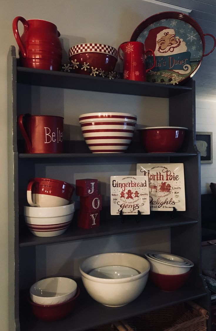 I love bowls. At Christmas only the red and white bowls get displayed for a festive display.