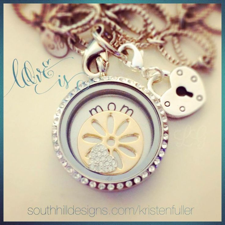 Such a lovely gift for mom. Large locket, large mom coin (or any coin you choose), medium sunflower screen, heart charm. #mom #mothersday #southhilldesigns