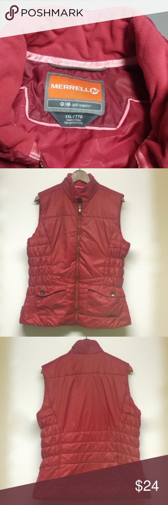 Merrell Raspberry Pink Matte Puff Vest XXL Solid Merrell puffer vest with light overall indications that it is pre-owned, primarily in that the fleece is VERY LIGHTLY dulled/blunted as occurs once fleece is washed etc. Definitely a lot of life left in this one. MERRELL Jackets & Coats Vests