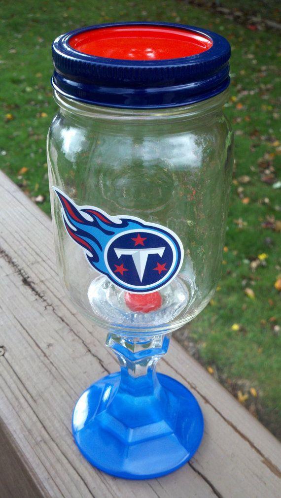 Tennessee TITANS Logo Wine Glass Wineglass Redneck by debbyschroll, $18.00