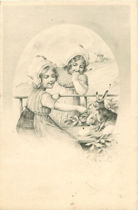2 Dutch girls offer a flower to 2 rabbits. Happy Easter!