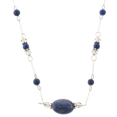 """Amazon.com: Changed Title to: Sterling Silver Oval Stone Lapis Beaded Necklace, 17"""": Jewelry"""