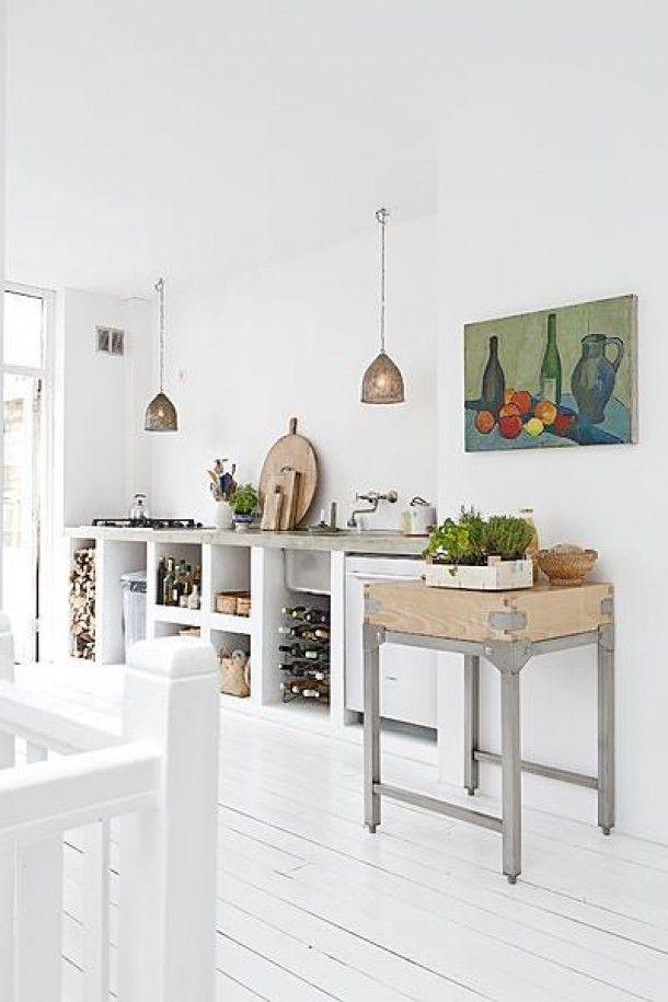 Formica Keuken Schilderen : White Concrete Kitchen