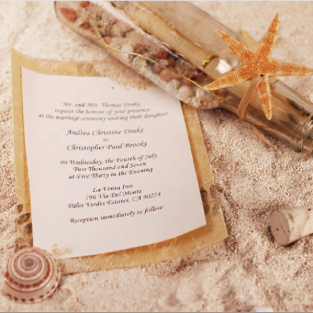 Message-in-a-bottle wedding invitations