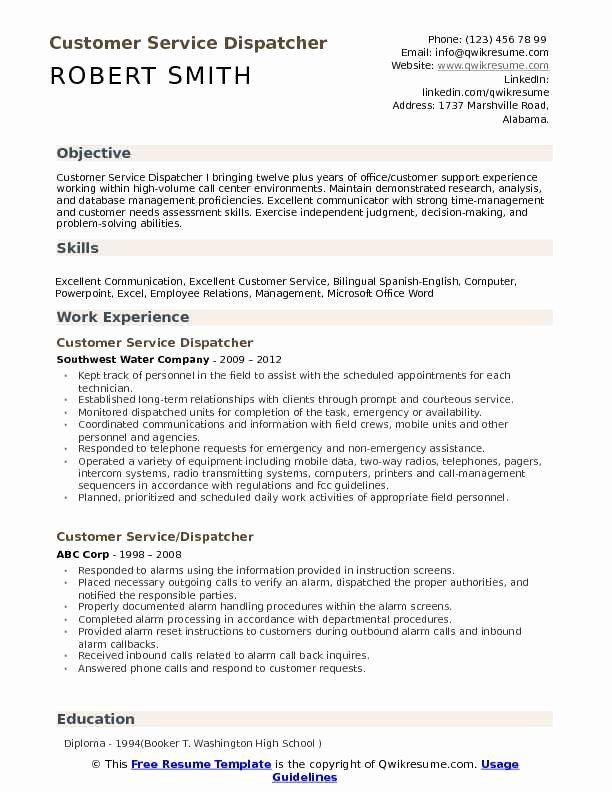 Truck Dispatcher Job Description Resume New Customer Service Dispatcher Resume Samples In 2020 Nurse Job Description Nanny Job Description Job Description