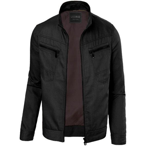 LE3NO Mens Cotton Zip Up Military Biker Jacket featuring polyvore, men's fashion, men's clothing, men's outerwear, men's jackets, mens biker jacket, mens zip up jackets, mens rider jacket and mens jackets