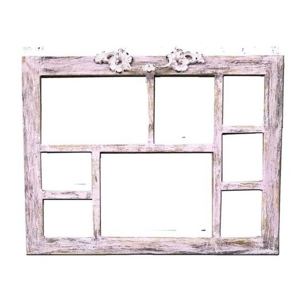 Shabby Chic Pink Multiple Photo Frame/8 Photos/Paint Distressed/Wood/Adorned Vintage Ornate Drawer Pull/Christmas Gift found on Polyvore featuring home, home decor, wood home decor, wooden home accessories, wooden home decor, pink home accessories and pink flamingo home decor