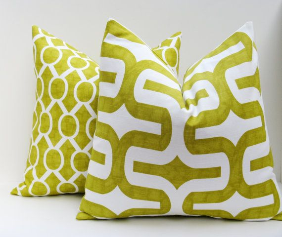lime green pillow set 16x16 inch decorator by