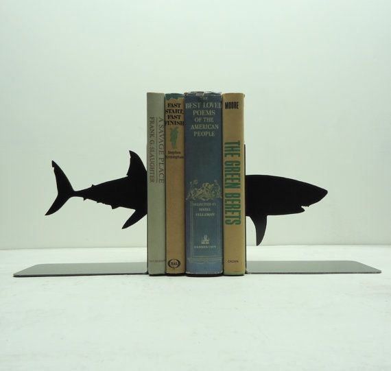 Knob Creek Metal Arts - Shark book ends