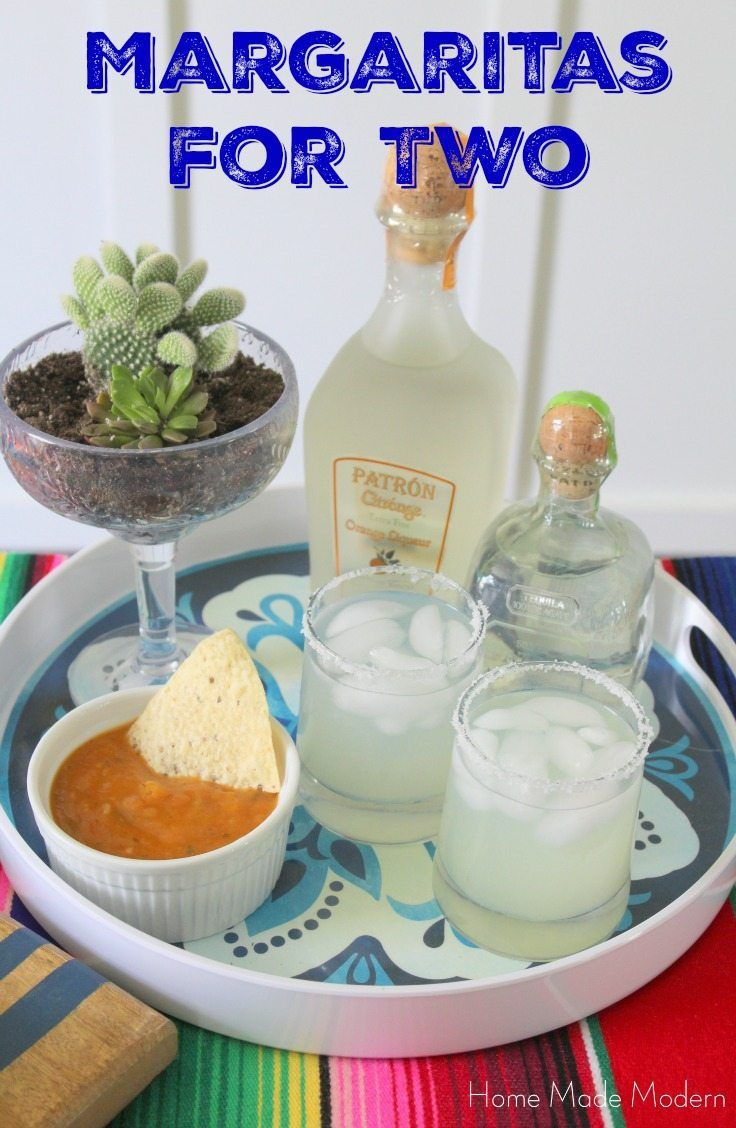 Margarita Recipe for Two 3 oz. Patron Silver tequila 2 oz. Patron Citronge liqueur Juice of 1 lemon Juice of 1 lime  Shake up and poor into two glasses.