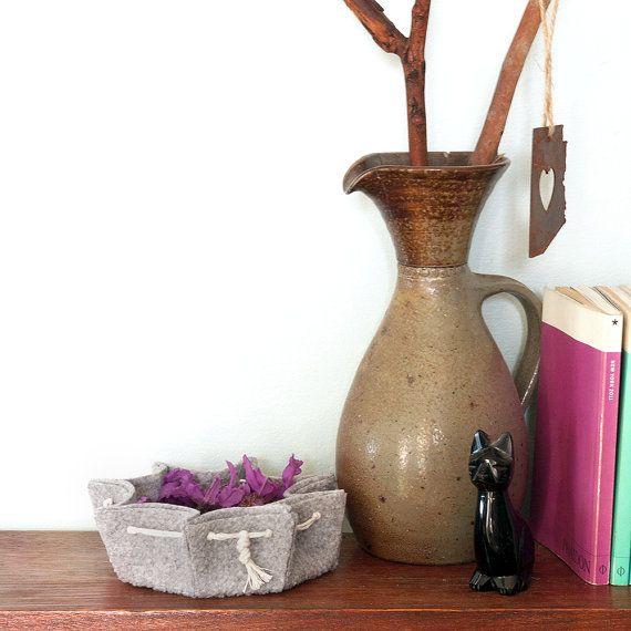 Folded Felt Bowl  Mod Scandi Organic Design by CasaSaltbush