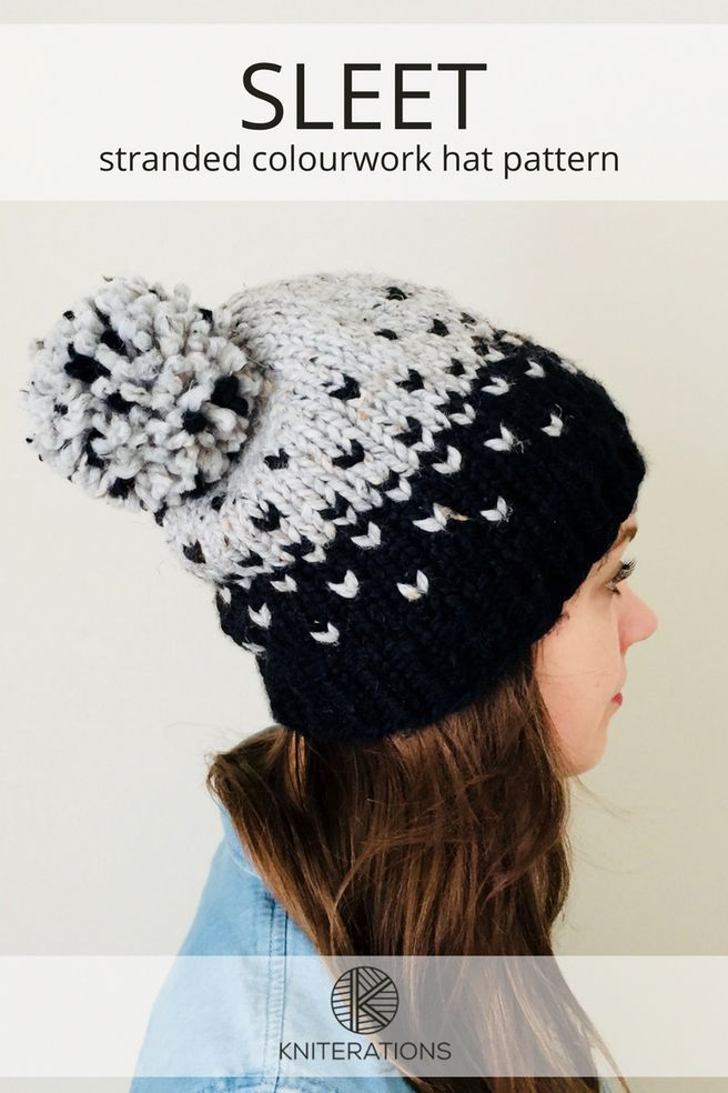 SLEET hat pattern by Allison O'Mahony @kniterations.ca