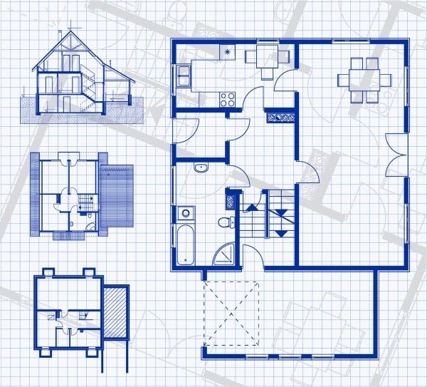 Three Storey House Blueprint With Vertikal And