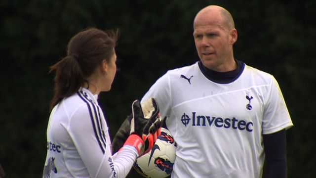 Ahead of last month's Hockey Olympic test event, England and Great Britain goalkeeper Beth Storry  traded her stick for soccer and trained alongside Tottenham Hotspur's veteran keeper Brad Friedel.  BBC Sport's Nick Hope  caught up with Storry and Friedel as they were put through their paces by Spurs goalkeeping coach Tony Parks.