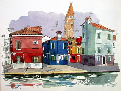 Fabrice Moireau watercolor - What a master of line, color and technique!