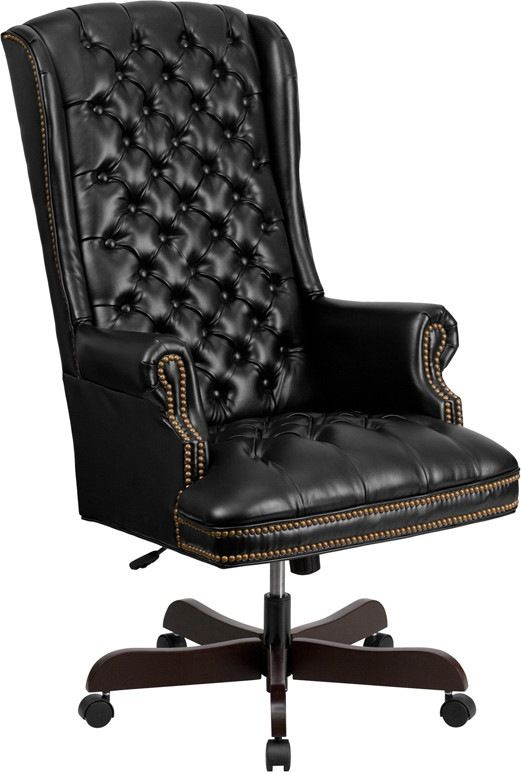 High Back Traditional Tufted Black Leather Executive Swivel Office Chair. This button tufted executive office chair combines old world craftsmanship with 21st century ergonomic seating principles, giving you a chair that feels as good as it looks. It redefines traditional elegance with its softer edges, subtle styling, and amazing comfort. High back office chairs have backs extending to the upper back for greater support. The high back design relieves tension in the lower back, preventing…