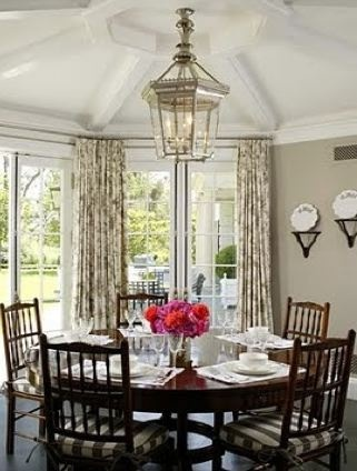.: Breakfast Rooms, Dining Rooms, Round Dining, Breakfast Nooks, French Doors, Wall Color, Kitchens Tables, Breakfast Area, Round Tables
