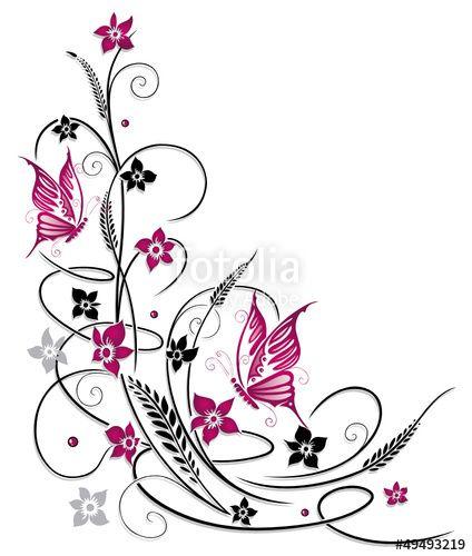 """Laden Sie den lizenzfreien Vektor """"Ranke, flora, Blüten, Schmetterlinge, schwarz, pink"""" von christine krahl zum günstigen Preis auf Fotolia.com heru…"""